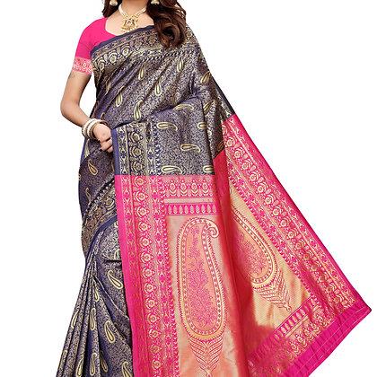 PAGAZO Women's Pink Colour Floral Print Jacquard Sari