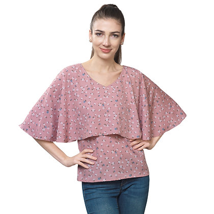 FabBucket Baby Pink Cape Top Regular Fit with V neck