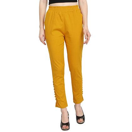 Murat For Women Cotton Lycra Blend Gold Color Cigarette Pants
