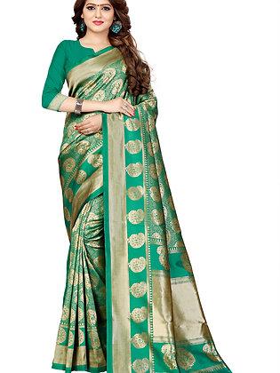PAGAZO Women's Blue Colour Geometric Print Jacquard Sari