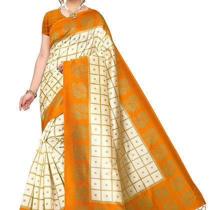 PAGAZO Women's Yellow Colour animal print Art Silk Sari
