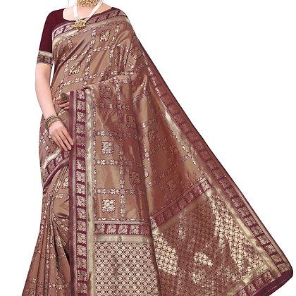Astonban For Women Maroon Colored Embellished Jacquard Saree