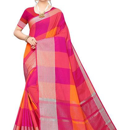 PAGAZO Women's Orange Colour Checkered Cotton Blend Sari
