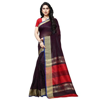 PAGAZO Women's Brown Colour Plain Tussar Silk Sari
