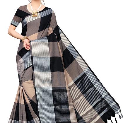 PAGAZO Women's Pink Colour Checkered Cotton Blend Sari