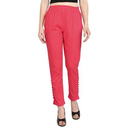 Murat For Women Cotton Lycra Blend Tomato Red Color Cigarette Pants