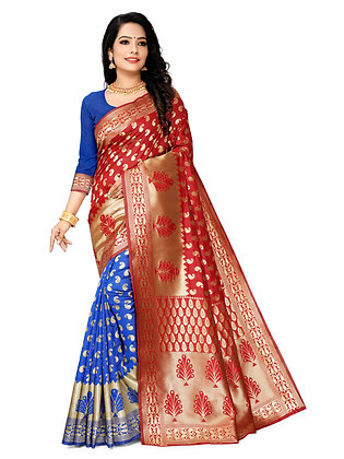 Astonban For Women Red Colored Embellished Jacquard Saree