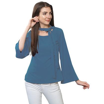 FabBucket Steel Blue Regular fit Crepe Top with neck tie design