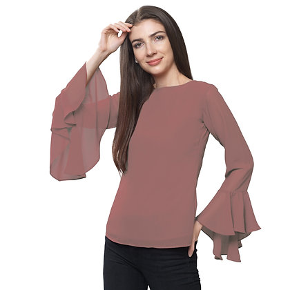 FabBucket Pink Regular fit Georgete top with Bell sleeves