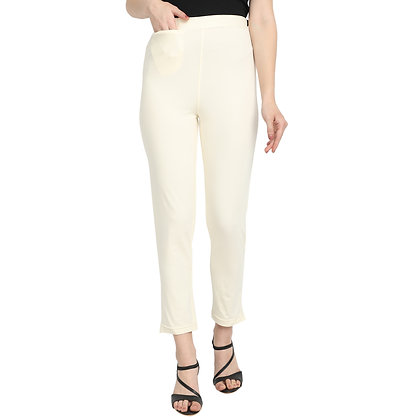 Murat For Women Cotton Lycra Blend Cream Color Kurti Pants