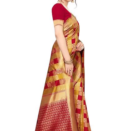 PAGAZO Women's Red Colour Floral Print Jacquard Sari