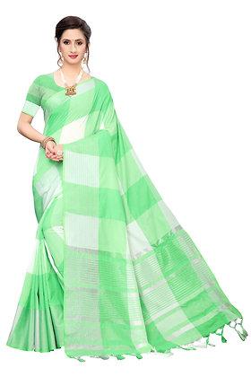 PAGAZO Women's Blue Colour Checkered Cotton Blend Sari