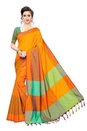 PAGAZO Women's Light Green Colour Self Design Cotton Linen Blend Sari