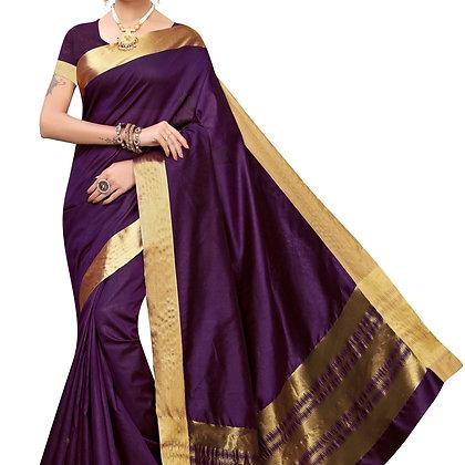 PAGAZO Women's Light Green Colour Plain Cotton Silk Sari