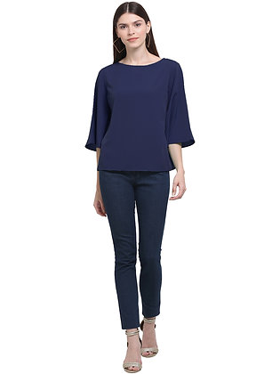 Women Round Neck Crape Top With Bell Sleeves Comfortable Fit