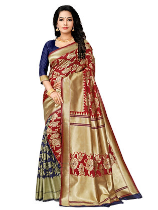 Astonban For Women Red Colored Floral Print Jacquard Saree