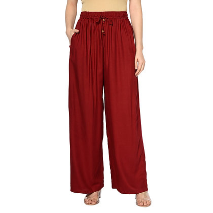 Murat For Women Relaxed Cotton Reyon Blend Maroon Color Palazzo