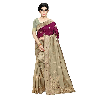 Astonban For Women Cream Colored Embellished Jacquard Saree