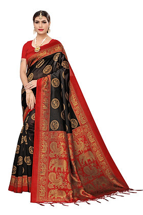 PAGAZO Women's BLACK Colour animal print Art Silk Sari