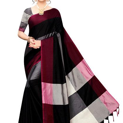 PAGAZO Women's Orange Colour Self Design Cotton Linen Blend Sari