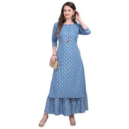 Women straigth kurta ,quater sleeve ,keyhole neck ,calf length(2pieceset)