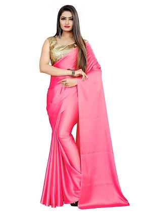 PAGAZO Women's Pink Colour Plain Satin Blend Sari
