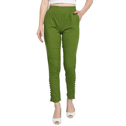 Murat For Women Cotton Lycra Blend Light Green Color Cigarette Pants