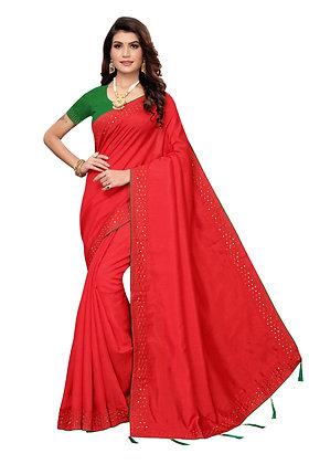 PAGAZO Women's Red Colour Plain Silk Blend Sari