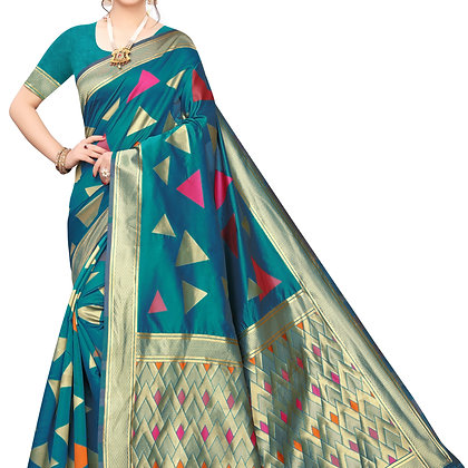 PAGAZO Women's Black Colour Checkered Jacquard Sari