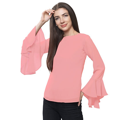 FabBucket Peach Regular fit Georgete top with Bell sleeves