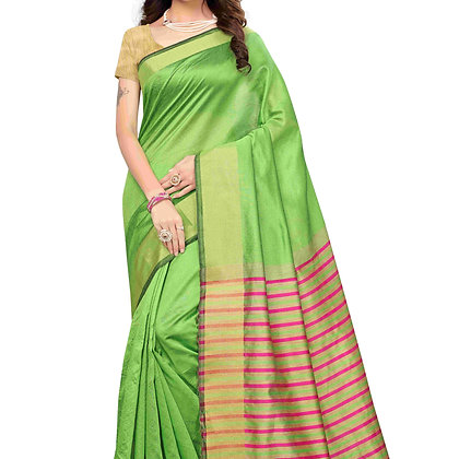 PAGAZO Women's Green Colour Plain Silk Blend Sari
