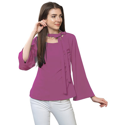 FabBucket French Rose Regular fit Crepe Top with neck tie design