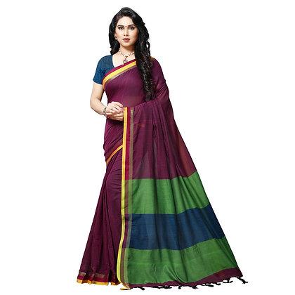 PAGAZO Women's Purple Colour Plain Pure Linen Sari