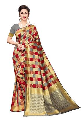 PAGAZO Women's Brown Colour Checkered Jacquard Sari