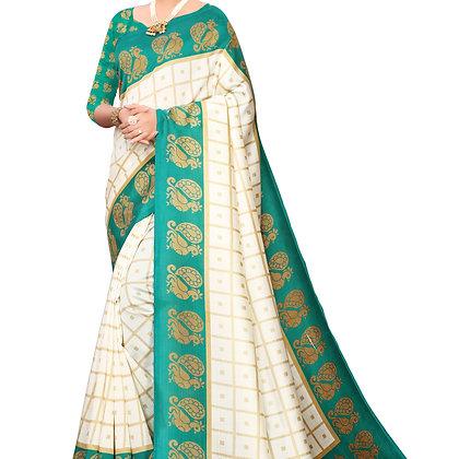 PAGAZO Women's Green Colour animal print Art Silk Sari