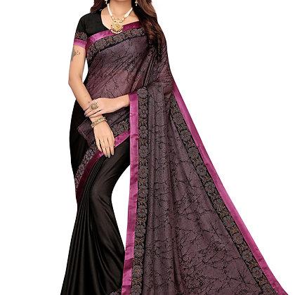 PAGAZO Women's Pink Colour Geometric Print Lycra blend Sari