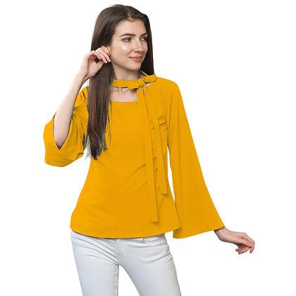 FabBucket Mustard Regular fit Crepe Top with neck tie design