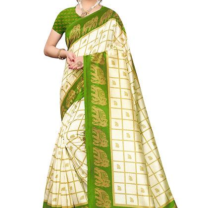 PAGAZO Women's LIGHT GREEN Colour animal print Art Silk Sari
