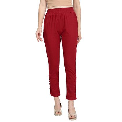 Murat For Women Cotton Lycra Blend Red Color Cigarette Pants