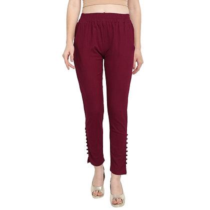 Murat For Women Cotton Lycra Blend Maroon Color Cigarette Pants