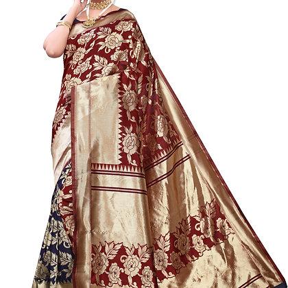 Astonban For Women Maroon Colored Floral Print Jacquard Saree