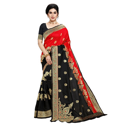 Astonban For Women Black Colored Embellished Jacquard Saree
