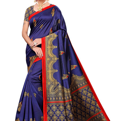 PAGAZO Women's DARK BLUE Colour animal print Art Silk Sari