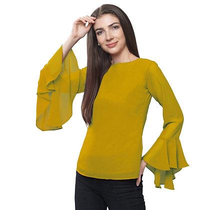 FabBucket Mustard Regular fit Georgete top with Bell sleeves