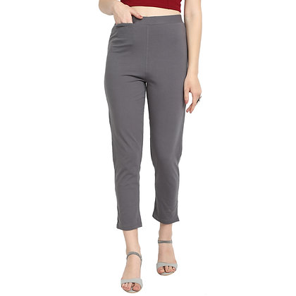 Murat For Women Cotton Lycra Blend Grey Color Kurti Pants