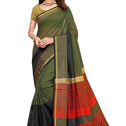 PAGAZO Women's Dark Green Colour Plain Silk Blend Sari