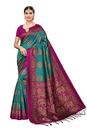 PAGAZO Women's DARK GREEN Colour animal print Art Silk Sari