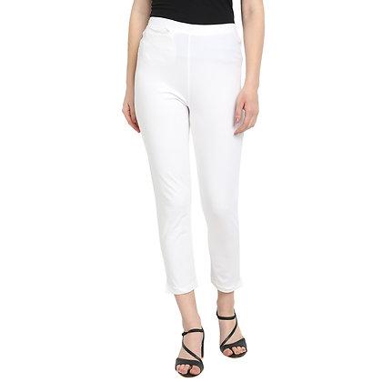 Murat For Women Cotton Lycra Blend White Color Kurti Pants