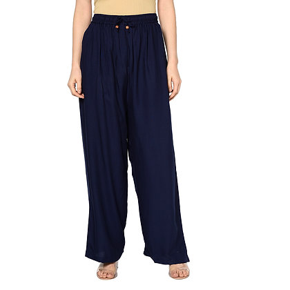 Murat For Women Relaxed Cotton Reyon Blend Blue Color Palazzo