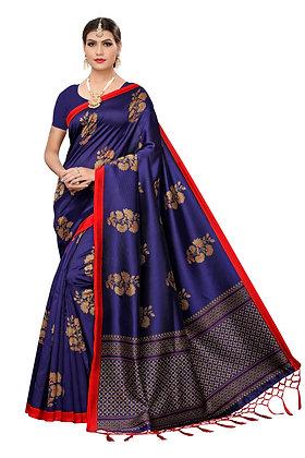 PAGAZO Women's DARK BLUE Colour Floral Print Art Silk Sari